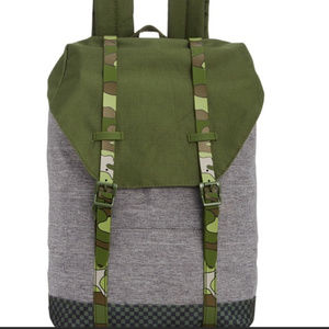 Backpack Gray & Green Camouflage Camo straps